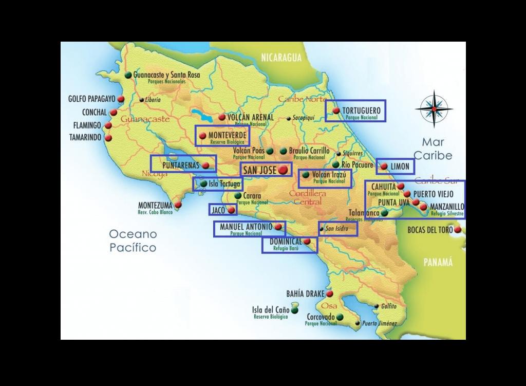 Mapa turístico de Costa Rica